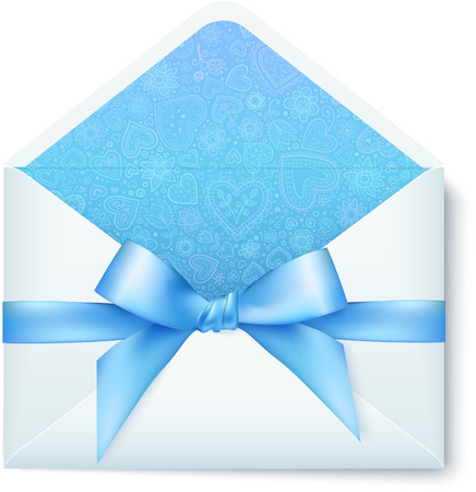 Paper vector envelope with blue bow Vector