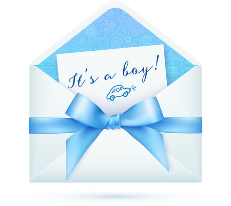 baby open present: Blue baby shower vector envelop with bow
