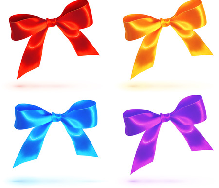 blue tie: Bright colorful vector bows set Illustration