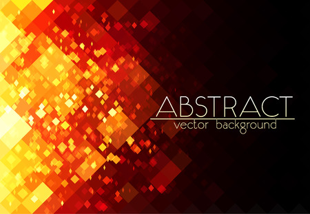 geometric design: Bright orange fire grid abstract horizontal background Illustration