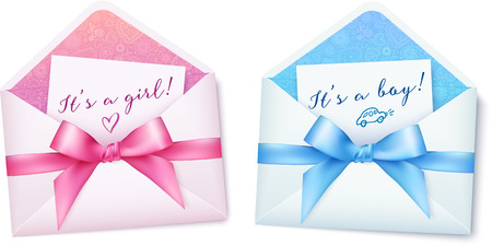 baby open present: Pink and blue baby shower envelops with bows Illustration