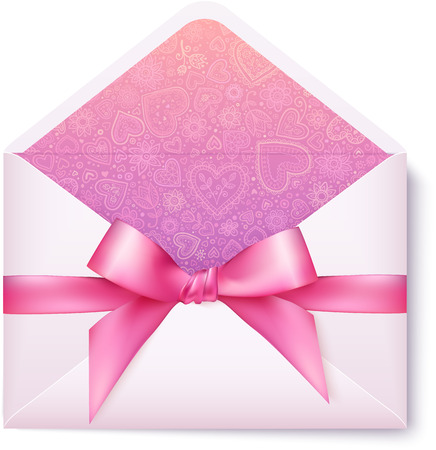 pink bow: Pink open envelope with pink bow