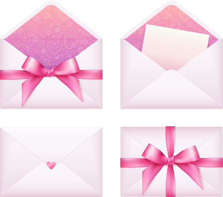 ribbon vector set: Pink envelope with ribbon, vector set