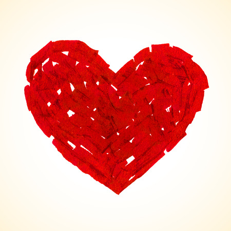 flat brush: Red flat brush painted vector heart