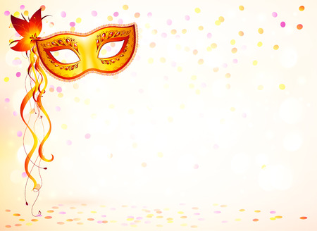 masks: Orange carnival mask on pink bokeh light background Illustration
