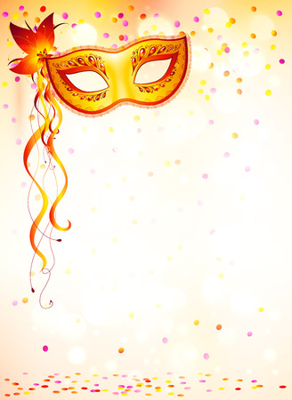 ピンクのボケ味の明るい背景にオレンジ色のカーニバル マスク
