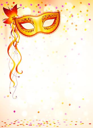 Oranje carnaval masker op roze bokeh lichte achtergrond