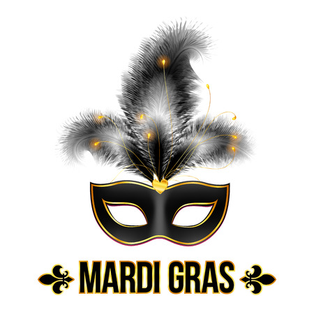 props: Black Mardi Gras carnival mask with feathers Illustration