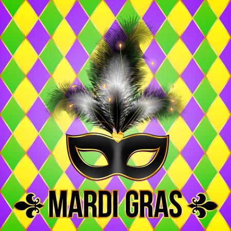 mardi gras mask: Black Mardi Gras mask with feathers on grid background