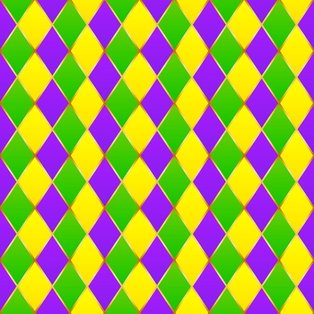 Green, purple, yellow grid Mardi gras seamless pattern Фото со стока - 35571427