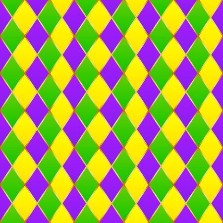 verde y morado: Verde, p�rpura, rejilla amarilla del carnaval sin patr�n Vectores