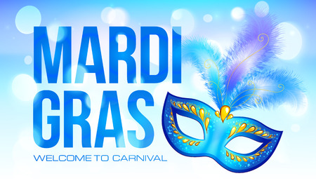 carnival in venice: Blue Mardi Gras banner template with carnival mask and feathers Illustration