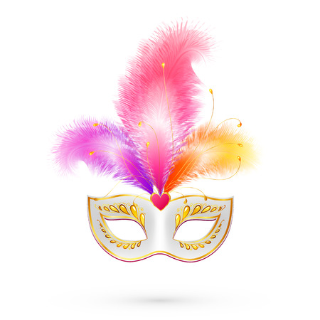 carnival background: White vector carnival mask with pink feathers