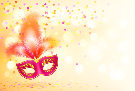 Red carnival mask with feathers on bokeh lights and confetti background