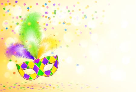 明るいマルディグラ カーニバル マスク ポスターの背景