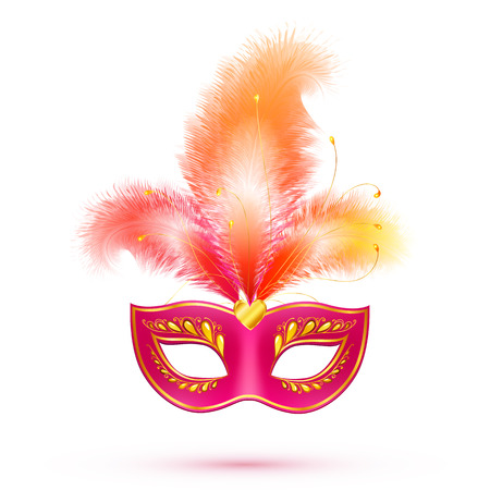 purim carnival party: Red isolated carnival mask with feathers