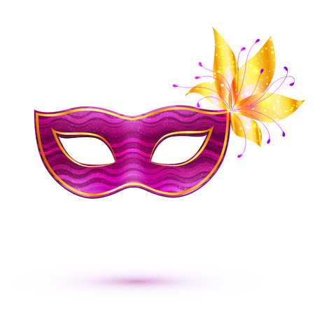 gras: Purple isolated carnival mask with golden flower