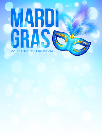 gras: Blue carnival mask with feathers on bokeh lights background