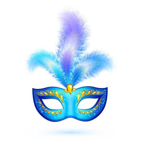 purim carnival party: Blue isolated carnival mask with feathers