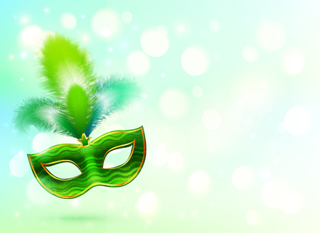 Green carnival mask with feathers banner background Vector