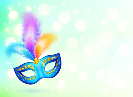 parade confetti: M�scara de carnaval azul con plumas de colores fondo bandera Vectores