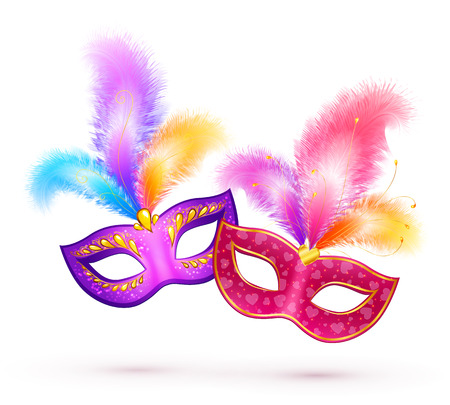 mascaras de carnaval: Par de máscaras de carnaval con plumas de colores brillantes Vectores