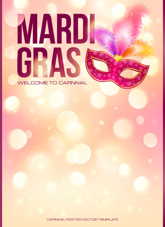 Light pink Mardi Gras poster template with bokeh effect and carnival mask