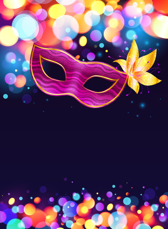 Pink carnival mask and bokeh lights dark blue poster background Ilustração