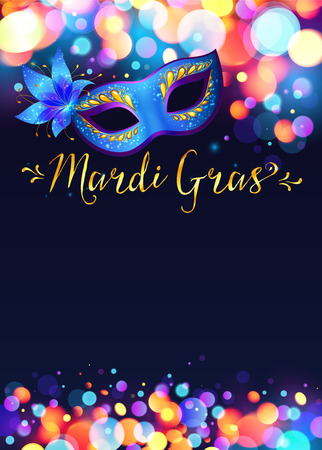 Bright Mardi Gras poster template with bokeh effect lights and blue carnival mask