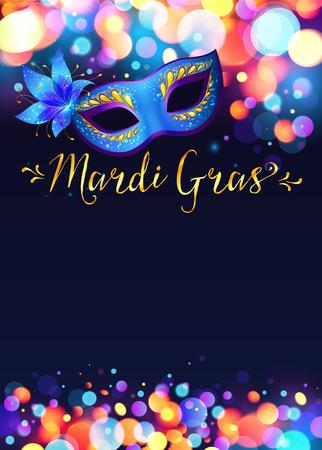 Bright Mardi Gras poster sjabloon met bokeh effect verlichting en blauw carnaval masker Stock Illustratie