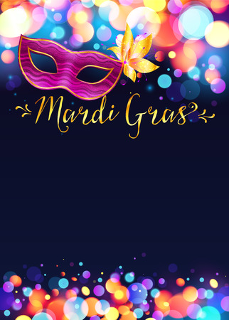 Bright Mardi Gras poster template with bokeh effect lights and pink carnival mask