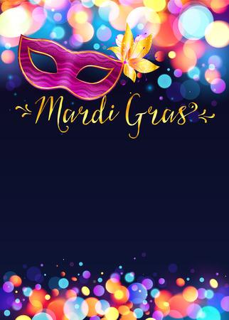 mardi gras: Luminoso poster modello Mardi Gras con luci ad effetto bokeh e rosa maschera di carnevale