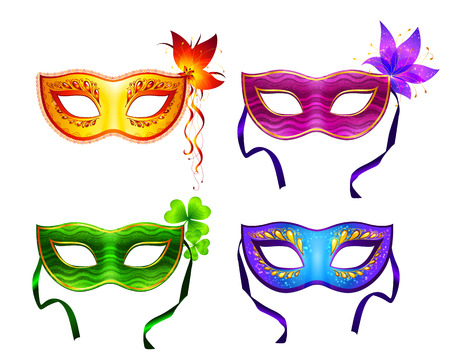 carnival costume: Colorful vector carnival masks set