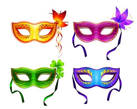antifaz de carnaval: Coloridas máscaras de carnaval de vector Vectores