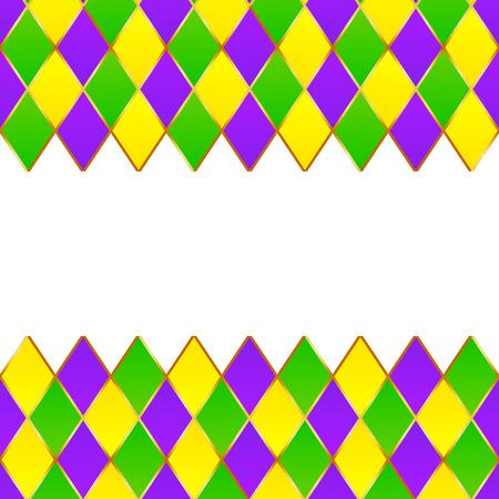 orleans: Green, purple, yellow grid Mardi gras frame Illustration