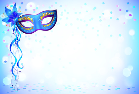 Blue carnival mask and confetti light background