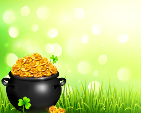 pot of magic gold on bokeh light background