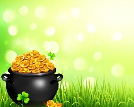 leprechaun background: pot of magic gold on bokeh light background