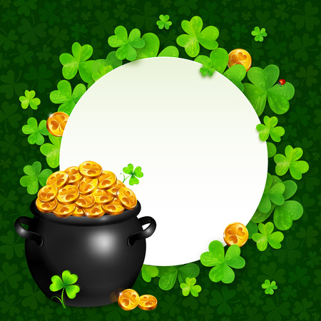 golden pot: black pot of magic gold on clovers circle