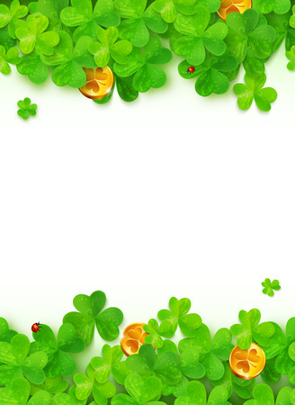 Green clovers with golden coins on white background Illustration