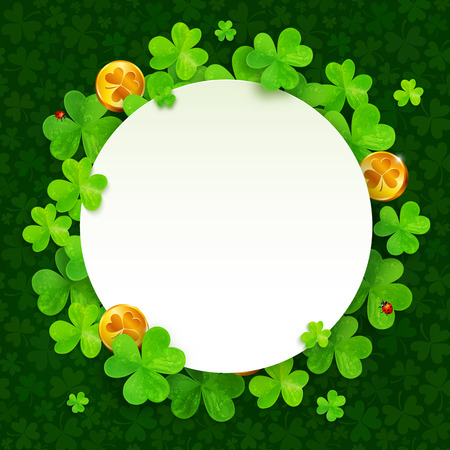 leprechaun: Green clovers and golden coins Saint Patricks Day frame Illustration