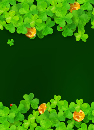 triskel: Dark green background with clovers and golden coins