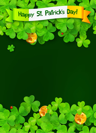 triskele: Happy Saint Patricks Day green background with clovers and golden coins