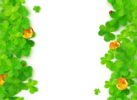 triskele: Green clovers with golden coins on white background Illustration