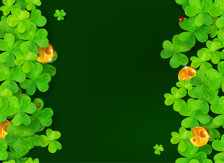 Dark green background with clovers, golden coins and ladybugs Illustration