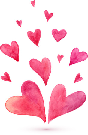 Watercolor lovely vector hearts Фото со стока - 35763327