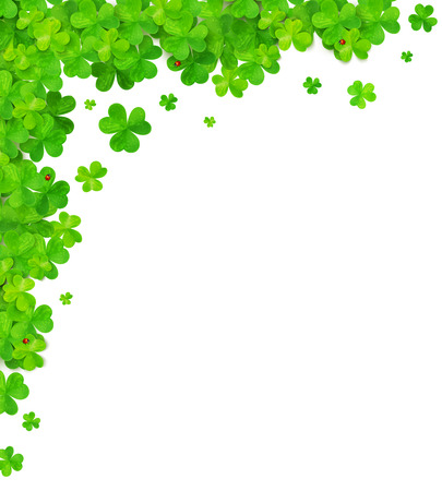 4 leaf: Green clovers vector corner frame element