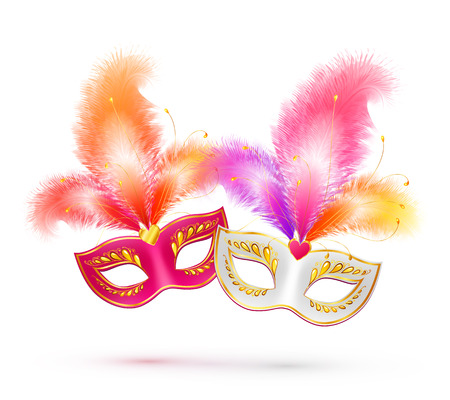 Pair of bright carnival masks with colorful feathers
