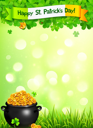golden pot: St. Patricks Day leaflet template with pot of gold and clovers on light green background