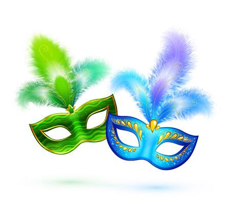 Paar groen en blauw vector maskers geïsoleerd op wit Stock Illustratie